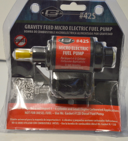 Mr. Gasket Micro Gravity Feed Electric Fuel Pump #42S + Open box