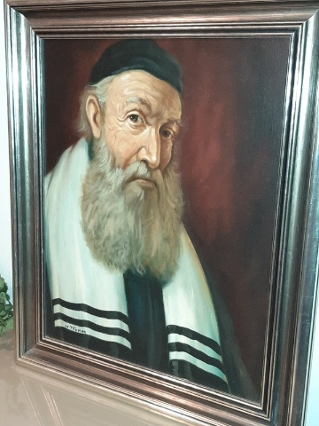 """Antique Large Signed Painting Jewish Rabbi, Judaica, Framed 28"""" by 32"""" W. Topman"""