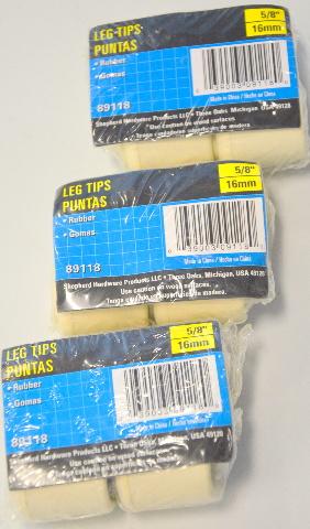 Shepherd Hardware Leg Tips-White-3 packs of 4 pcs. #89118