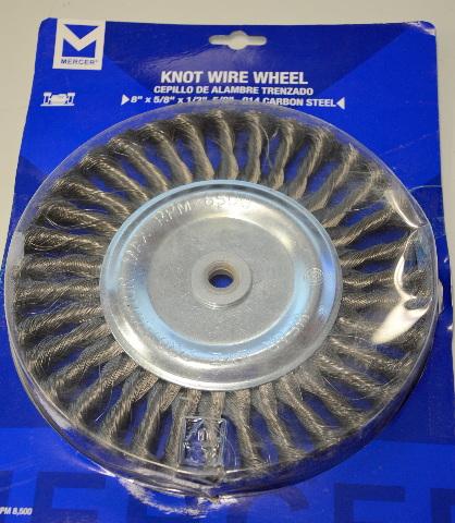 "Mercer Industries #184020 Knot Wire Wheel 8"" x 5/8"" x 1/2"",5/*',  .014 Carbon Steel"