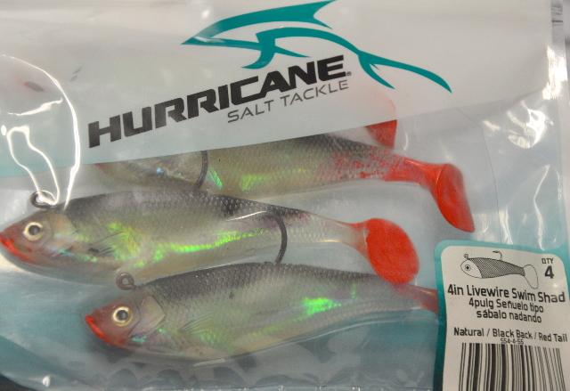 "Hurricane Salt Tackle 4"" Livewire Swin Shad-Natural/Black Back/Red Tail"