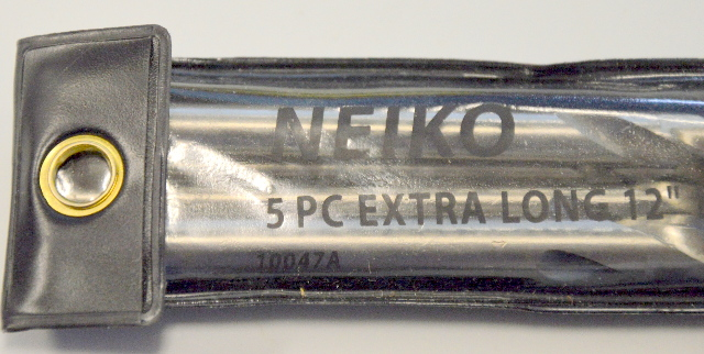 """5 pc Extra Long 12"""" HSS Drill Bit set by Neiko for Wood, Metal and Plastic. #10047A"""