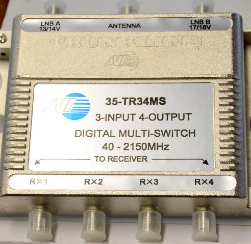 Trunkline 35-TR34MS 3-INPUT 4-OUTPUT Digital Multi-Switch 40-2150MHZ