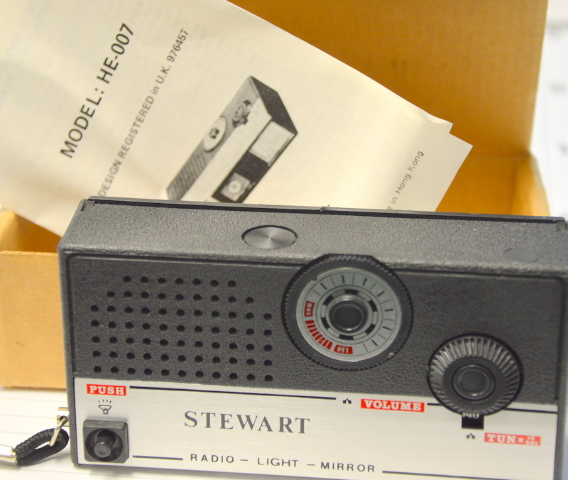 Vintage Stewart Novelty Radio-Light-Mirror. Uses 2 AA Batteries, not inluded. #HE-007