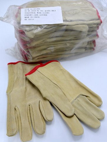 100% Leather Industrial Work Glovez-12 pair-Size S- #H6130S.