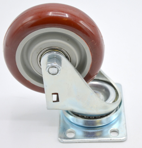 """4""""x 1 1/4"""" Plate Mnt Poly on Poly Swivel Caster, 400 lb capacity-Dual race bearings"""