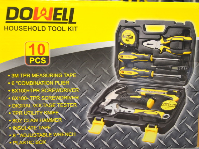 Dowell 10 Piece Household Portable Tool Set with case.