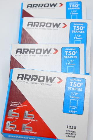 """4 - Pkg. Arrow Genuine T50 Staples 1/2"""" T50, 1250 pcs ea package. #508"""
