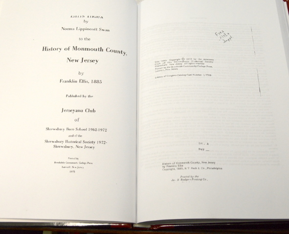 History of Monmouth County, New Jersey, hard cover book. 1-7788