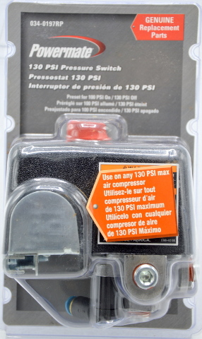 Powermate 130 PSI Pressure Switch #034-0197RP, 4 Port, Genuine Replacement Part.