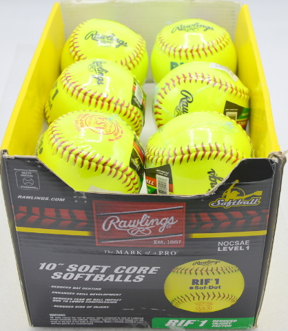 """Rawlings 10"""" Soft Core Softballs (12) MOCSAE Level 1, Yellow for training and safety."""
