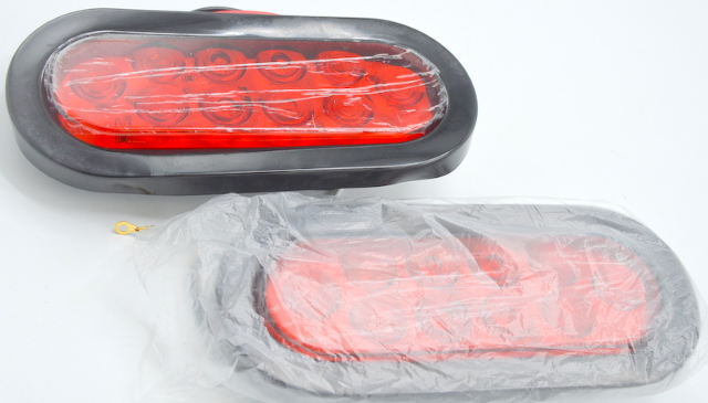 """Nilight 2 Pc. 6""""-10 LED's, Oval Red Tail Stop Brake Turn Trailer Lights. TL-01"""