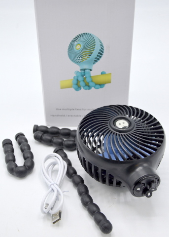 Octopus Deformed - small fan - Model H6.  3 speed, stands up or holds on.  USB Cord.