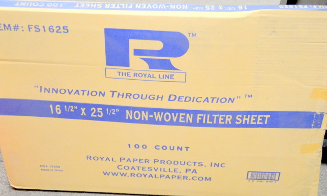 "The Royal Line - #FS1625 16 1/2 x 25 1/2"" Non Woven filter sheet - 100 pcs."