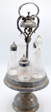 Vintage Six Piece Salad Cruet Set, Silver plate and Glass bottles by Wilcox #0581