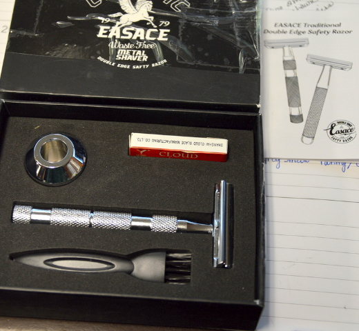 Classic EASACE Long Handle, Double Edge Shaving Safety Razor Chrome Shaver