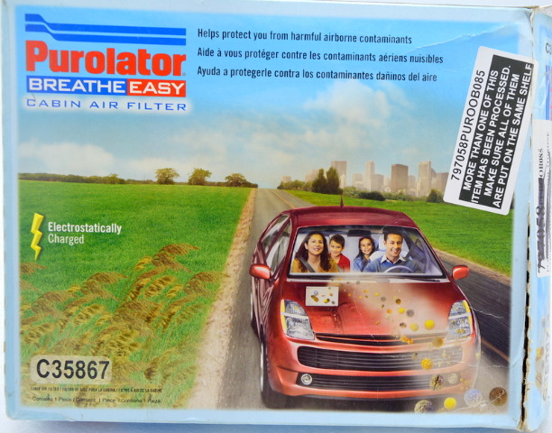 Purolator Breathe Easy Cabin Air Filter for older cars 2010.  #C35867.