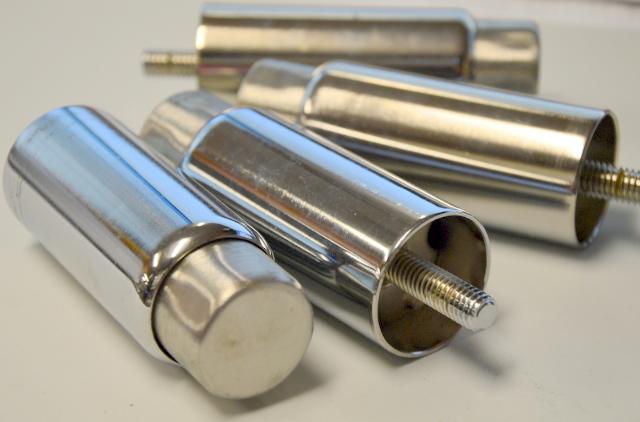 4 Adjustable Stainless Steel Adjustable Legs for Industrial Kitchen 3/8 Stem.  New.