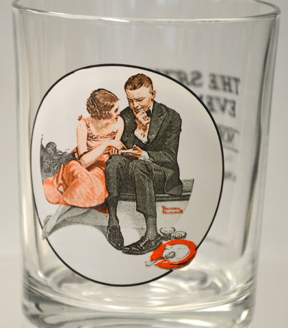"Norman Rockwell-The Saturday Evening Post Glassware ""A night on the Town"""