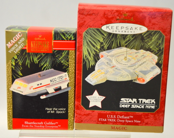 2 Hallmark Ornaments: U.S.S. Defiant Deep Space Nine and Shuttlecraft Galileo