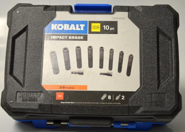 Kobalt Impact Grade SAE 10 pc Deep Socket Set  #0864582