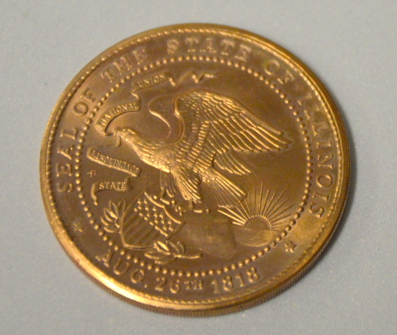 "Illinois State Sesquicentennial Coin 1 1/2"" dia. 1818 - 1968"