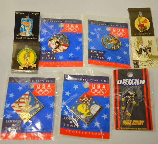 9 Looney Tunes Collectible Pins - USA Olympics, Wedding,Swimming and more