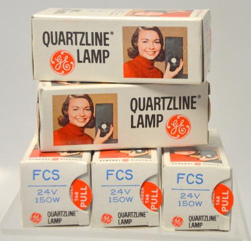 5 - GE Quartzline Lamp FCS 24V 150W - NIB- New Old Stock