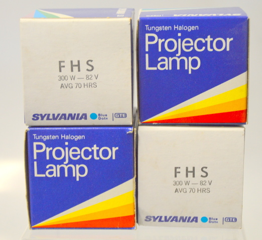 "4 Sylvania Tungsten Halogen Projector Lamp ""FHS"" 300W-82V, New Old Stock"