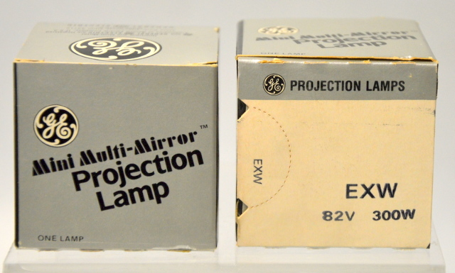 """2 - GE """"EXW"""" Mini Multi-Mirror Projection Lamp 300W-82V  - New Old Stock"""