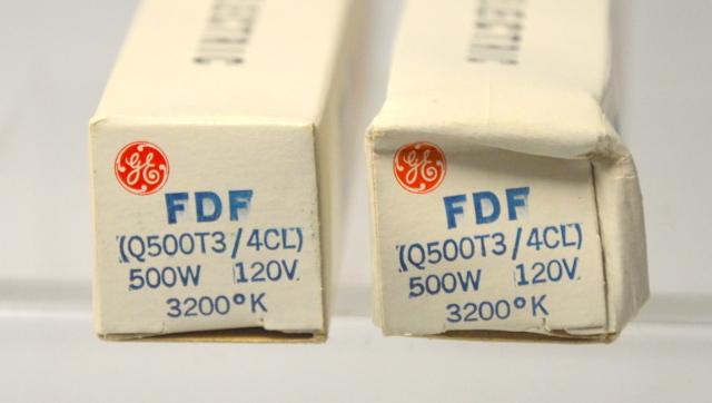 """2 - GE """"FDF"""" 500W - 120V Stage & Studio Quartzline Lamp - New Old Stock"""