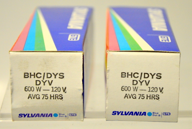 2 - Sylvania  DYV 600W-120V Projector Lamp Tungsten Hallogen New old stock