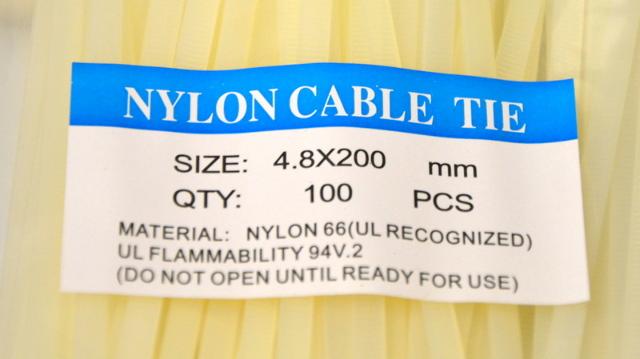 """5 Pkg of 100 4.8mm x 200mm (8"""") White Nylon ties."""
