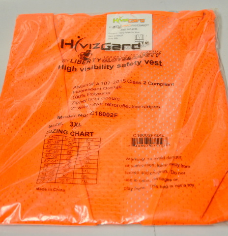 HiViz Gard by Liberty High Visibility Safety Vest - Orange Zip Front - 3XL - New