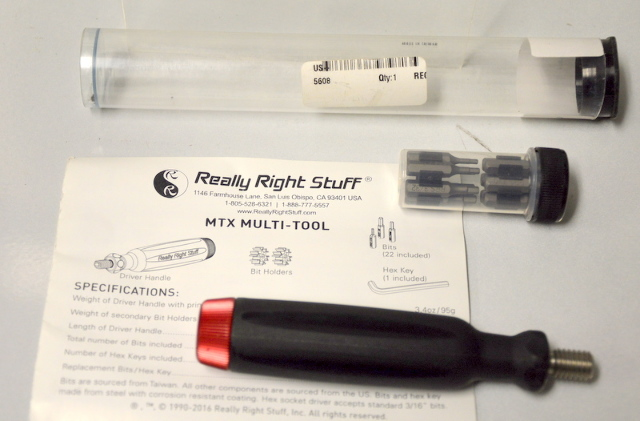 Really Right Stuff - MTX Multi Tool - Screwdriver and 22 Bits.