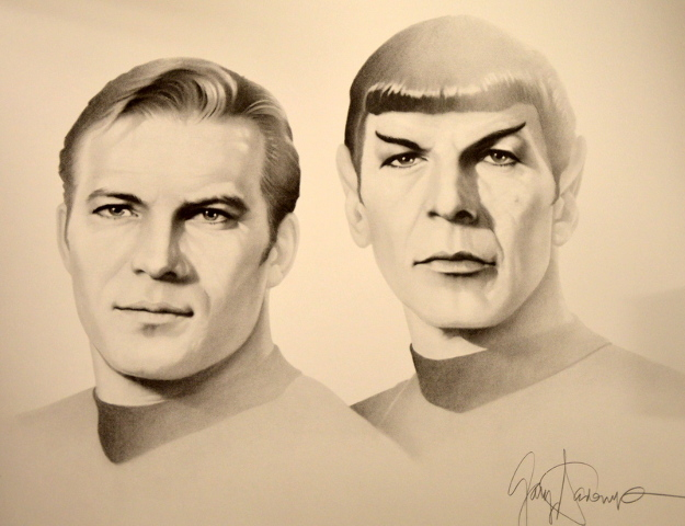 "Star Trek ""Kirk and Spock"" pencil signed print #808/950 - from 1989.  20""x23"""