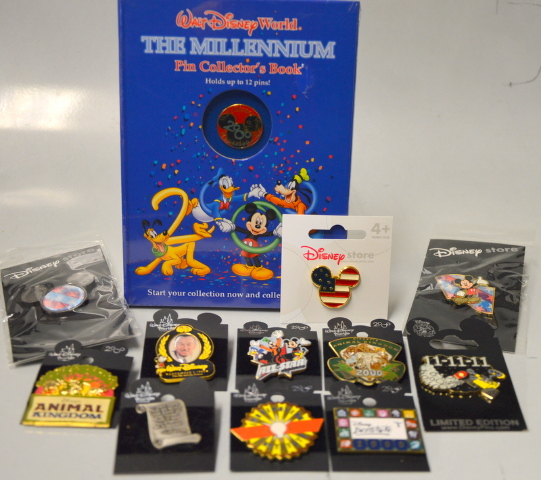 "Disney World ""The Millennium Pin Collector's Book w/Pin and 11 more Pins."
