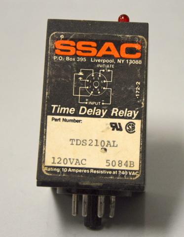 SSAC TSD210AL Time Delay Relay, 120 VAC 5084B - Untested.