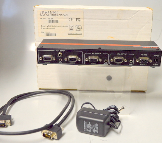 Hall Research Model# VS-2A  2 Port VGA Switch with Audio, VGA Cord and Power