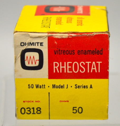 Ohmite Vitreous Emaneled Theostat 50 Watt,Model J,Series A 0318 Ohm #50