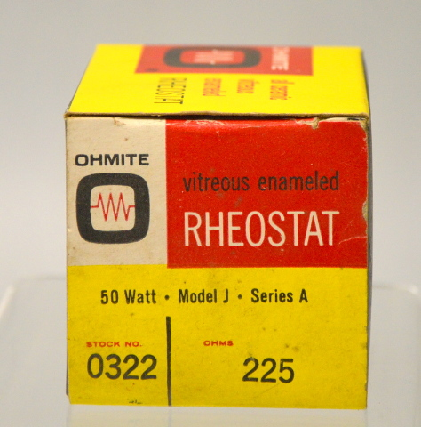Ohmite Vitreous Emaneled Theostat 50 Watt,Model J,Series A 225 Ohm #0322