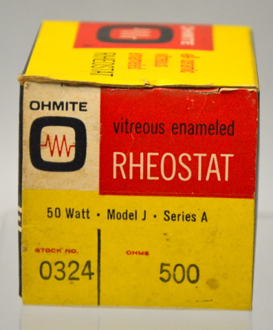 Ohmite Vitreous Emaneled Theostat 50 Watt,Model J,Series A 500 Ohm #0324