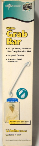 "Medline 12"" x 1 1/4"" Dia White Grab Bar - 250 lb capacity, Rustproof #MDS86012"