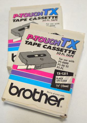 "Brother P-Touch TX Tape Cassette - TX-1311 Black on Clear 1/2"" NIB - 2 Pc."