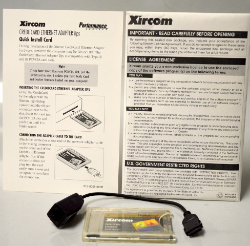Xircom Credit card Ethernet Adapter  IIps with Dongle and Manual. ALN2000