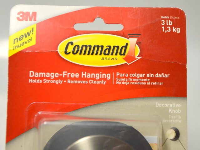 3 - 3M Command Decorative Damage free Hanging Knobs, 3 Lb capacity 17054BN-ES