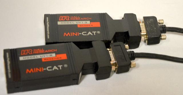 Hall Research UV1-R Mini-Cat Reciver and UV1-S Mini-Cat Sender with cables