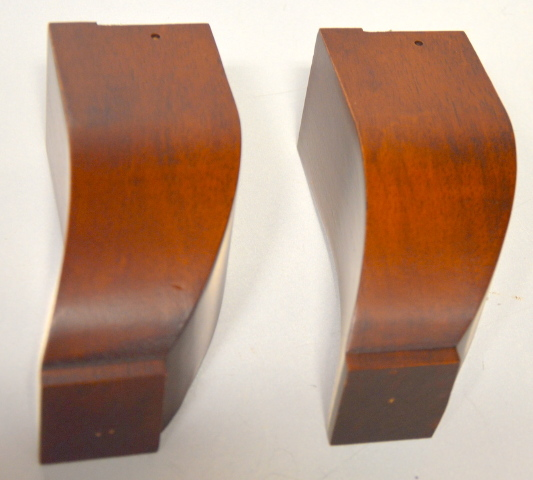 "1 Pair of Solid Wooden Furniture Legs Curved 2 3/8 sq x 5 1/2"" tall - NIB  #241-366"