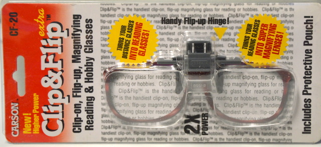 Carson Optincs CF-20 Optical 2X Magnifying Lenses Clip & Flip plus Pouch.