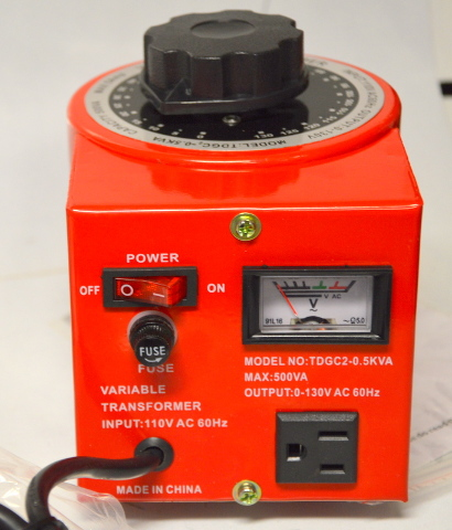 Variable Transformer, 500VAC Max, 0-130V Output, 5 Amp #16VA520TO5